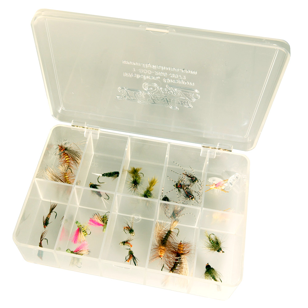 Medium Size Interlocking Clear Fly Box, 10 Compartment Medium Size 10 Compartment Interlocking Clear Fly Box