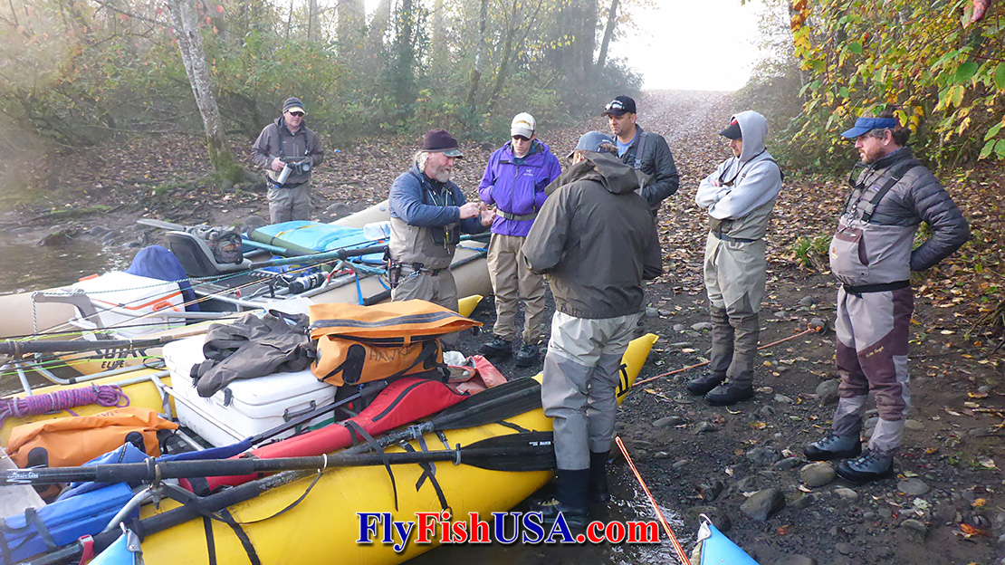 Picture of Hawkeye Hawkins instructing a winter Spey School on the Clackamas River in Oregon.