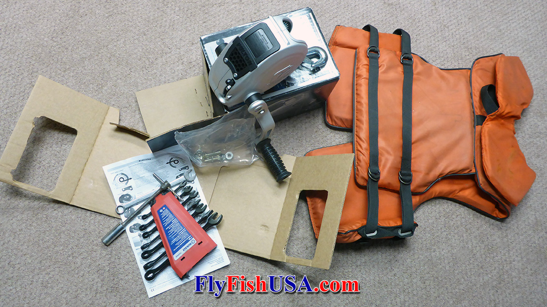 Picture of boat trailer winch repair tools and parts.