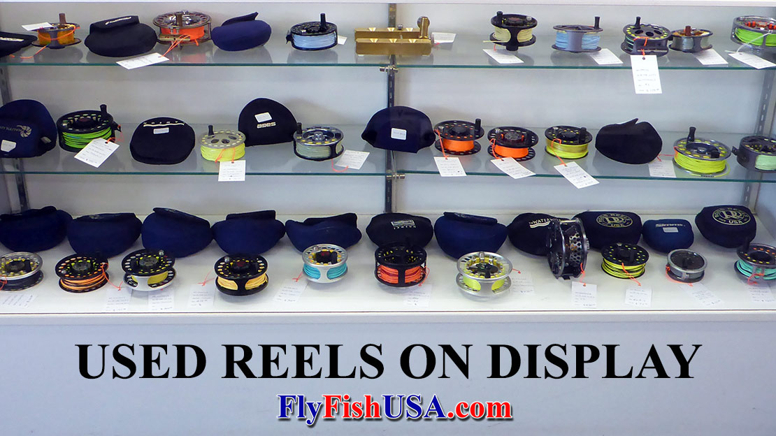 Used Reels, Discount Reels, Close-out Reels on display.