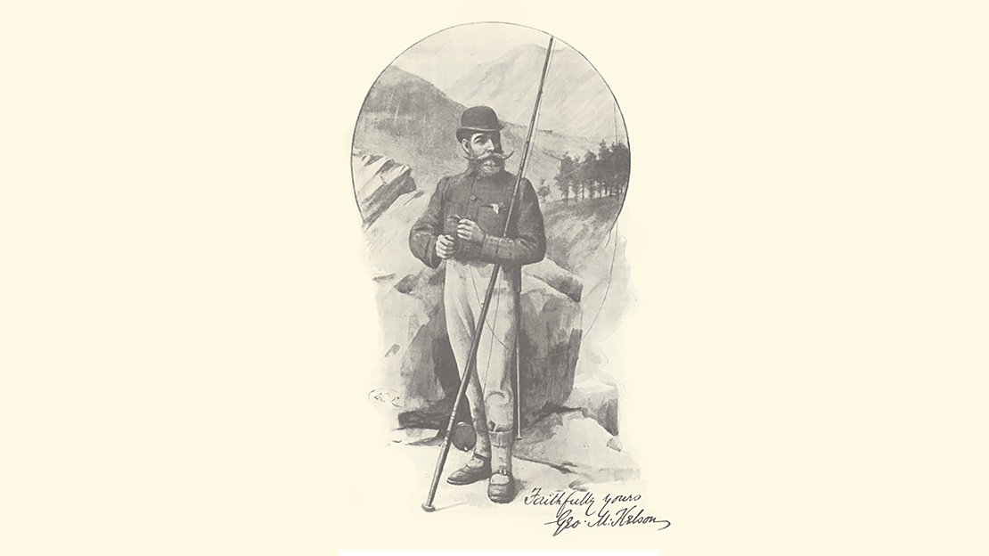 a drawing of salmon angler, writer George Kelson, 1884.