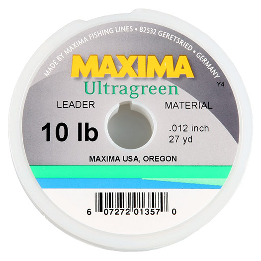 Maxima Ultra Green leader/tippet spool, pictured.