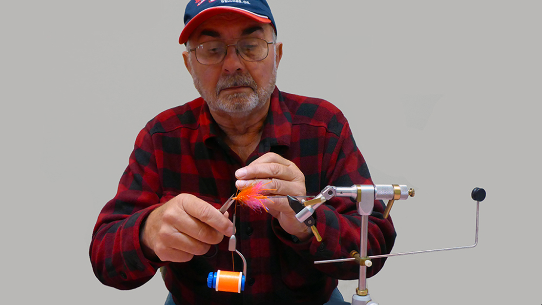 Mark Bachmann hard at work at the fly tying vise