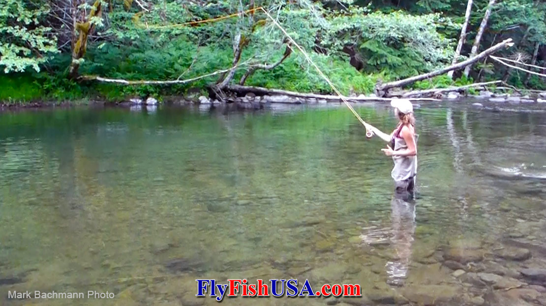 This is Jenna's first time casting with a fly rod. She is using a Sage 590-4X rod.