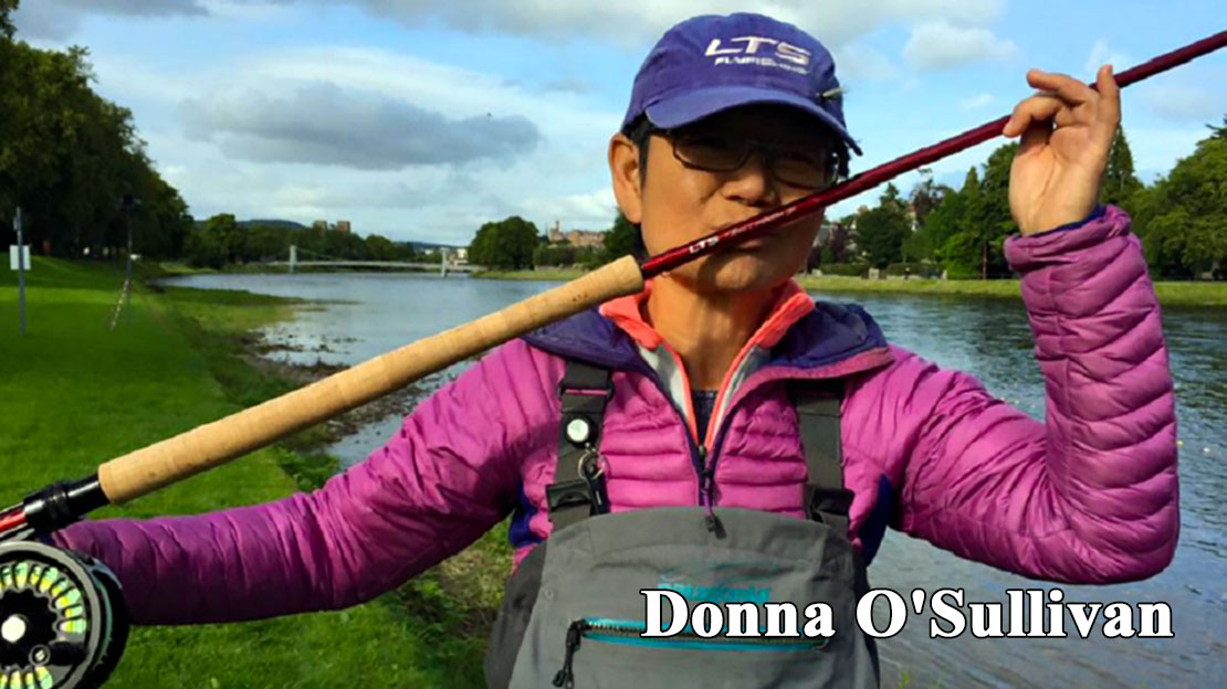 World champion Spey distance caster, Donna O'Sullivan gives her favorite LTS rod a smooch after winning another title.