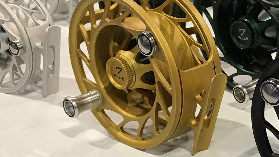 Hatch Outdoors Finatic Fly Reel Gen2 custom gold color.