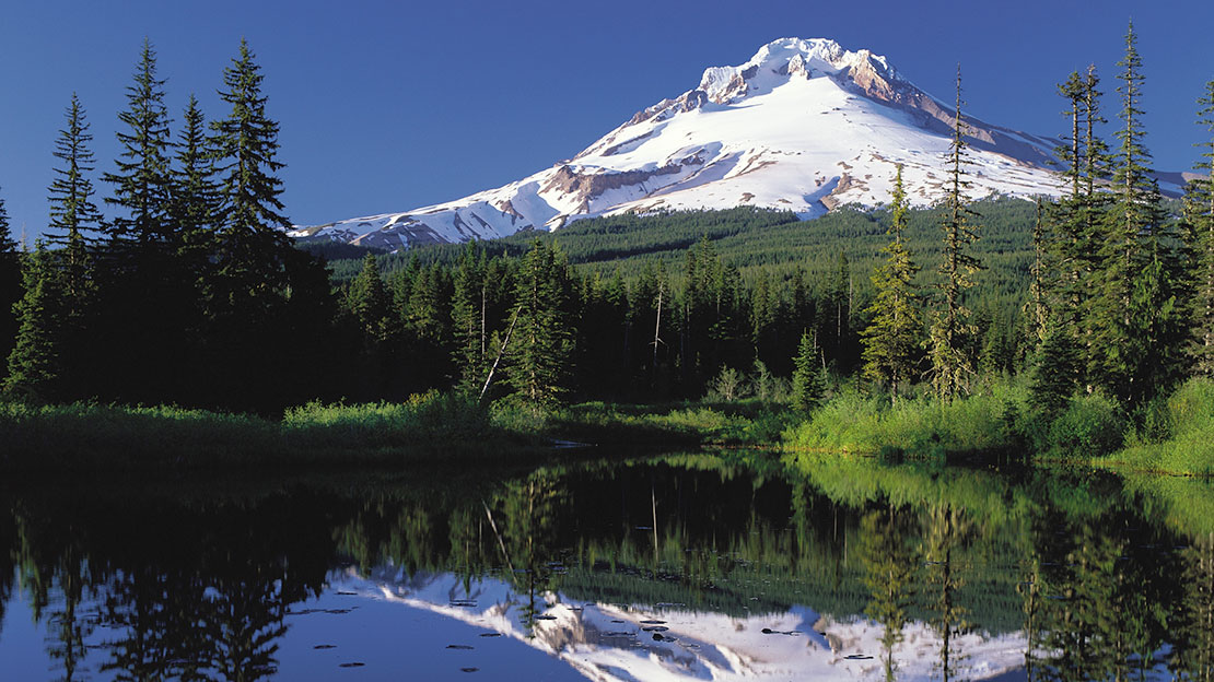 Photo of Mirror Lake near Mt. Hood.