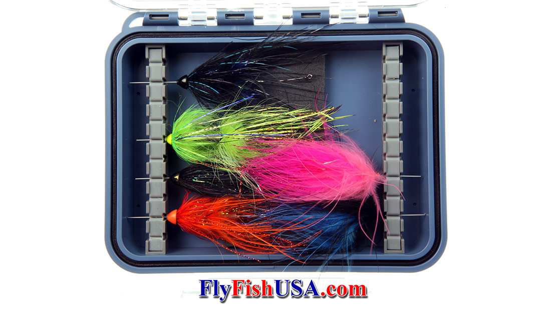 Plan D Pocket Tube Fly Box, open, flies pictured are not for sale, Picture