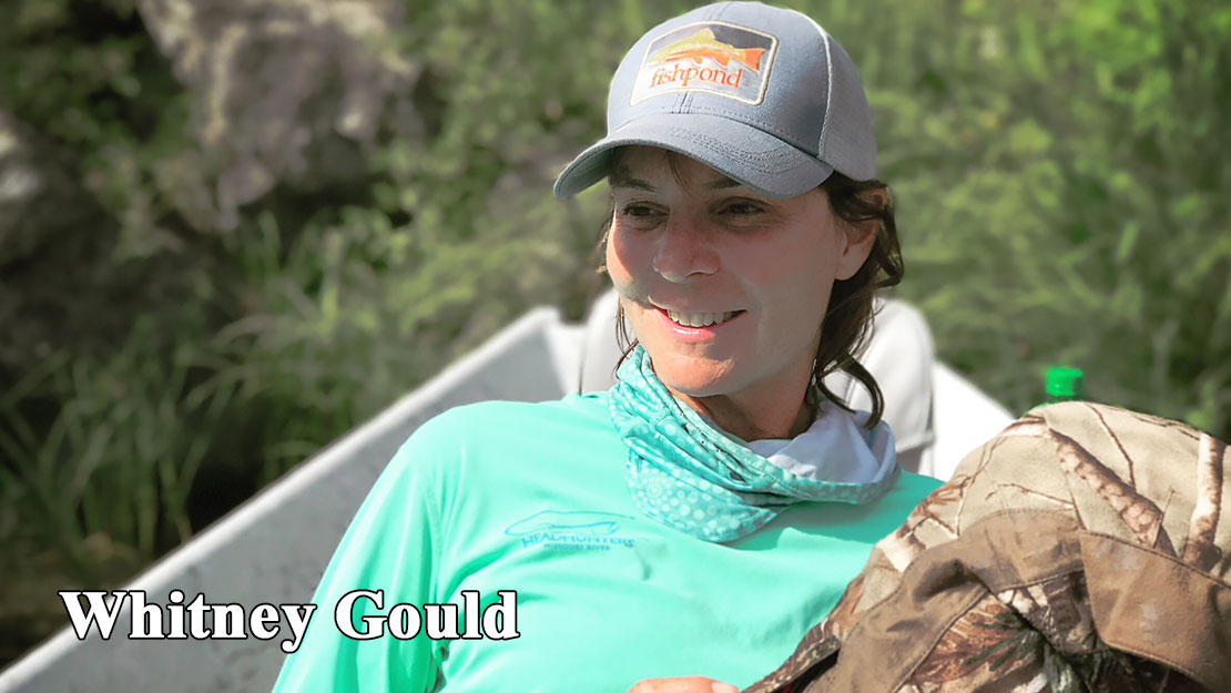 Fly fishing guide, Whitney Gould relaxes in the front of her drift boat.