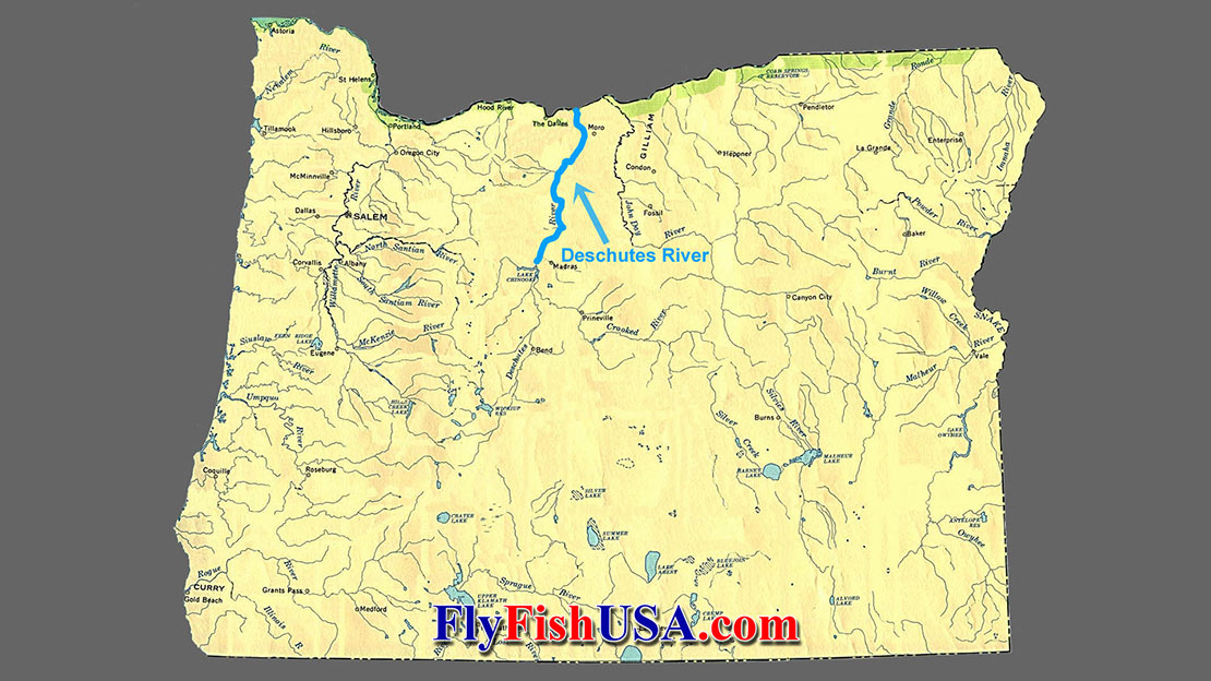 Oregon map showing the Deschutes River.