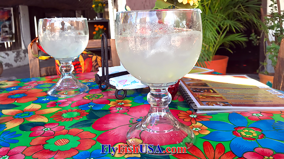 Margarittas at The Giggling Dolphin in Loreto, Mexico.