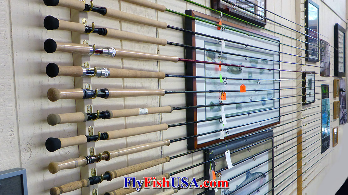 The Spey rod wall at The Fly Fishing Shop, Welches, Oregon.