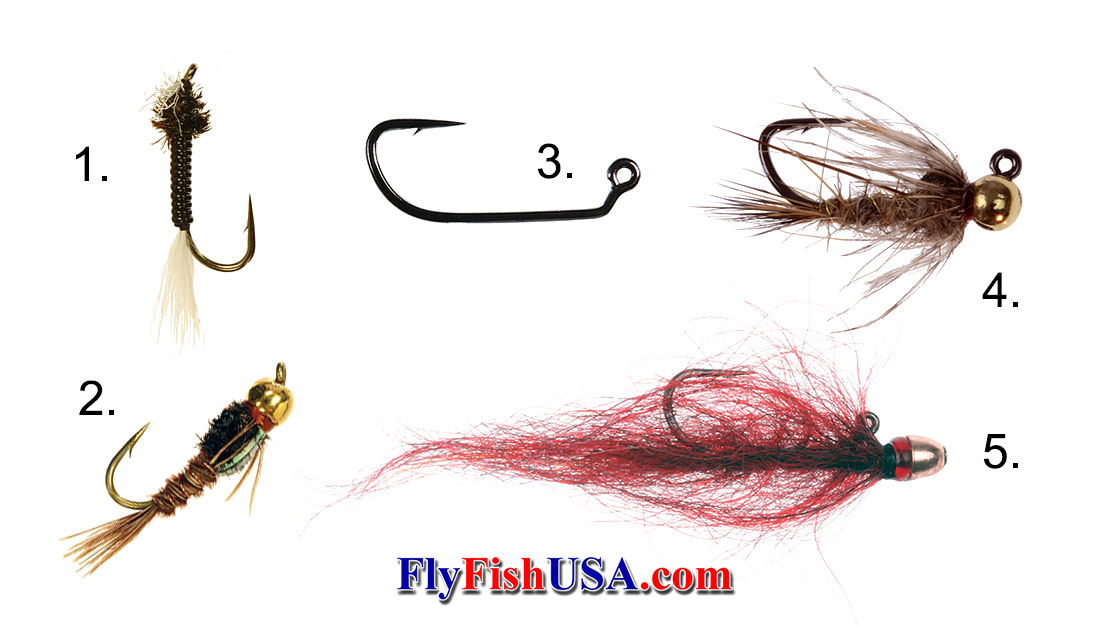 Picture of how various weighted nymph flies perform accordin to where the weight is placed in each fly style.