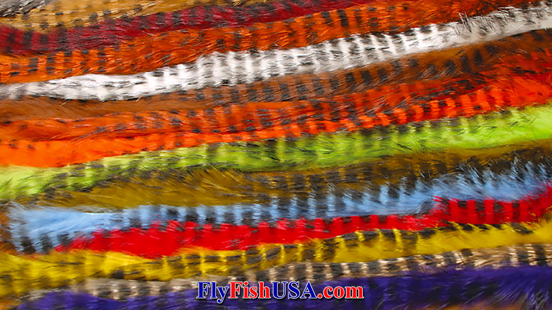 An assortment of black barred rabbit strips in a variety of colors.