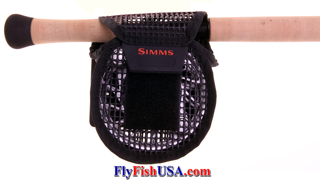 The Simms Bounty Hunter Mesh Reel Pouch fits a reel while it is on or off the rod.