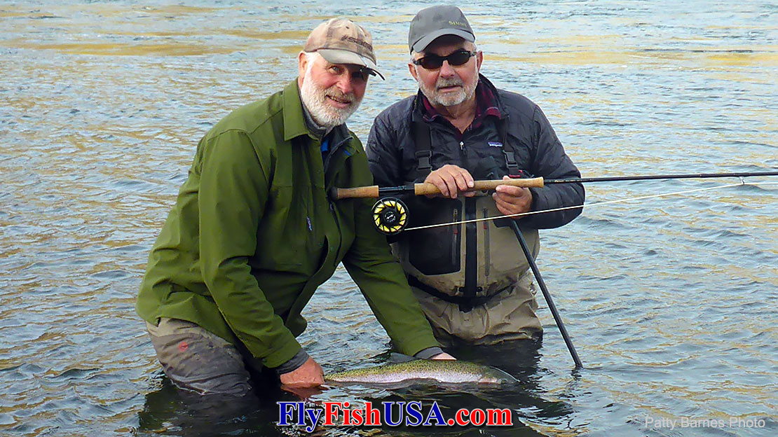 Al Buhr and Mark Bachmann with a typical Hell's Canyon summer steelhead.