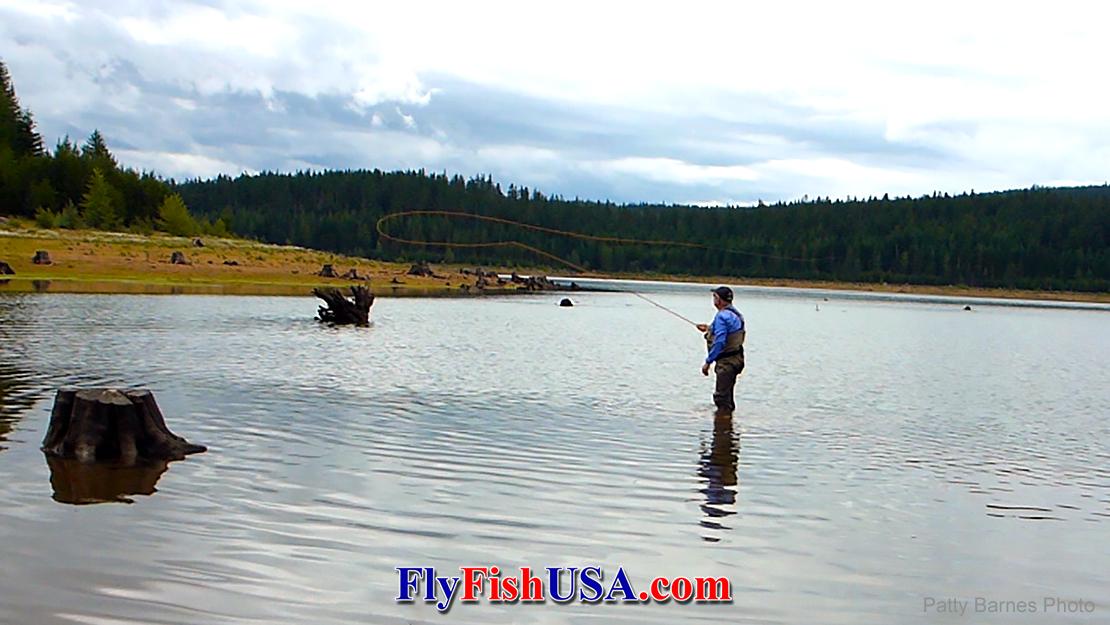 Fly fishing Clear Lake near Mt. Hood in Oregon.