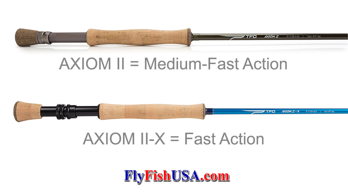 Picture of TFO Axiom II and Axiom II-X fly rods.