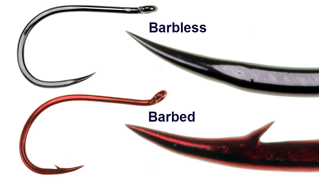 Picture, An illustration of barbless and Barbed hooks.