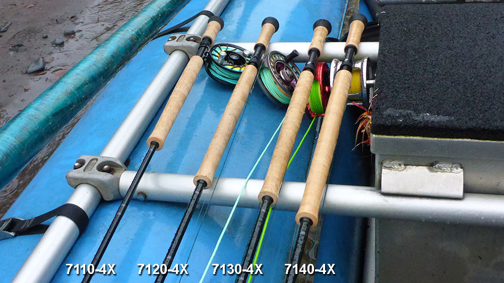 A comparison of four Sage X7 fly rods